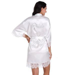 Proste / Simple Białe Ślub ślubna V-Szyja 3/4 Rękawy Z Koronki Jedwab Szlafroki 2020 Szarfa Frezowanie Rhinestone