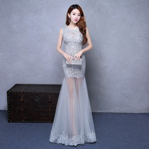 Chic / Beautiful Grey Party Dresses 2017 Trumpet / Mermaid Scoop Neck Sleeveless Appliques Lace Rhinestone Floor-Length / Long Ruffle Pierced Backless Formal Dresses
