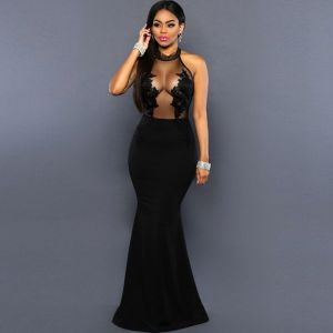 Sexy Summer Black See-through Maxi Dresses 2018 Trumpet / Mermaid Scoop Neck Strapless Sleeveless Appliques Lace Floor-Length / Long Women's Clothing