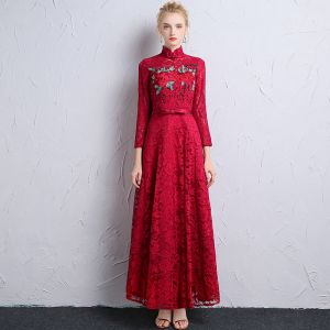 Chinese style Burgundy Lace Evening Dresses  2018 A-Line / Princess High Neck Long Sleeve Appliques Lace Bow Sash Ruffle Ankle Length Formal Dresses
