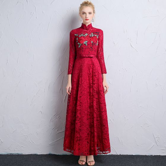 Chinese Style Burgundy Lace Evening Dresses 2018 A Line Princess