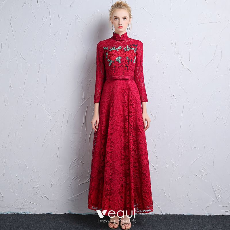 Chinese Style Burgundy Lace Evening Dresses 2018 A Line Princess High Neck Long Sleeve Appliques Lace Bow Sash Ruffle Ankle Length Formal Dresses