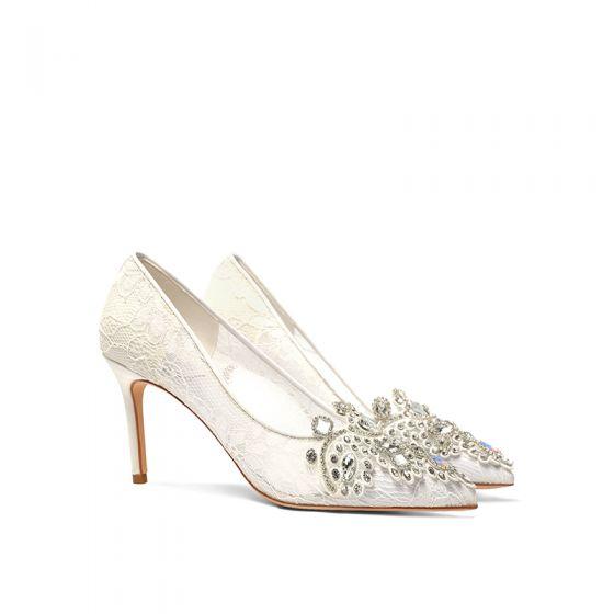 Classy Ivory Lace Rhinestone Wedding Shoes 2020 8 cm Stiletto Heels Pointed Toe Wedding Pumps
