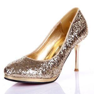 Pompes Paillettes Sequin Similicuir Chaussures Talons De Mariée / Chaussures De Soirée