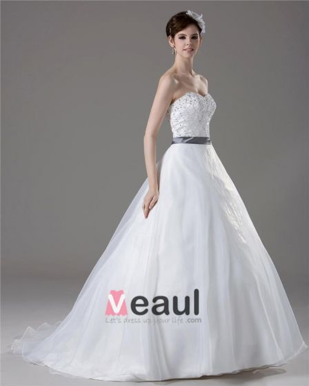 Sweetheart Perlen Bodenlange Garn Paillette Ballkleid Brautkleid