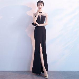 Sexy Black Evening Dresses  2018 Trumpet / Mermaid Beading Rhinestone Scoop Neck Sleeveless Split Front Ankle Length Formal Dresses