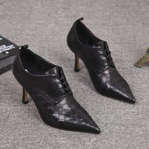 Mote Svart Gateklær Lær Flette Kvinners støvler 2021 Ankel 7 cm Stiletthæler Spisse Boots