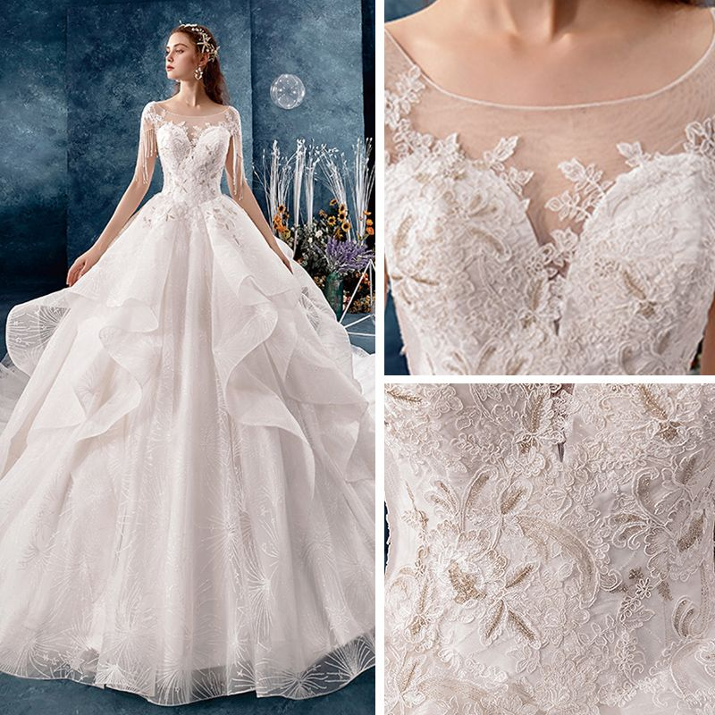 Chic / Beautiful Ivory See-through Wedding Dresses 2019 A-Line / Princess Square Neckline Cap Sleeves Backless Appliques Lace Beading Tassel Glitter Tulle Cathedral Train Cascading Ruffles