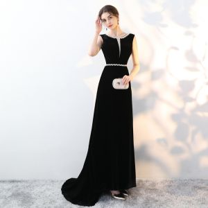 Chic / Beautiful Black Evening Dresses  2018 A-Line / Princess Suede Rhinestone Scoop Neck Backless Sleeveless Sweep Train Formal Dresses