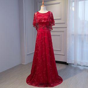 Schöne Rot Abendkleider 2017 A Linie U-Ausschnitt Spitze Applikationen Rückenfreies Strass Handgefertigt Abend Partykleider