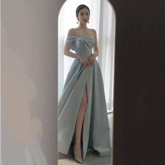Mode Gris Satin Robe De Soirée 2021 Princesse De l'épaule Manches Courtes Fendue devant Longue Volants Dos Nu Robe De Ceremonie