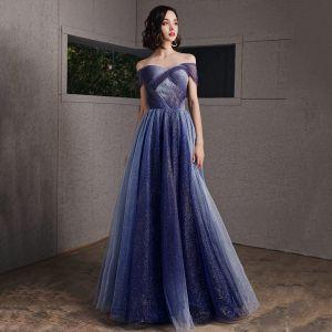 Starry Sky Royal Blue Evening Dresses  2020 A-Line / Princess Off-The-Shoulder Short Sleeve Glitter Tulle Floor-Length / Long Ruffle Backless Formal Dresses