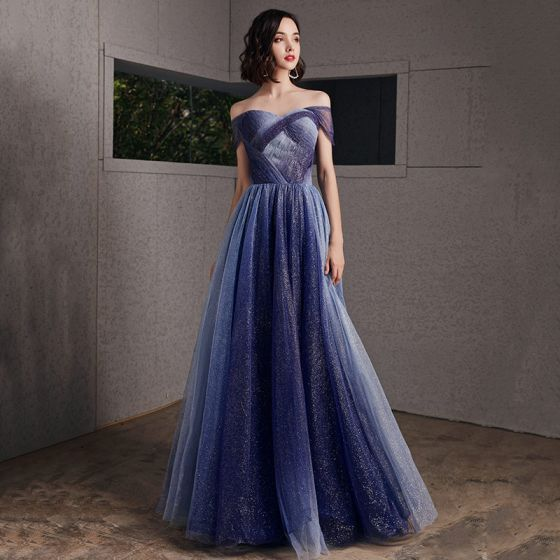 Starry Sky Royal Blue Evening Dresses  2020 A-Line / Princess Off-The-Shoulder Short Sleeve Glitter Tulle Floor-Length / Long Ruffle Backless Formal Dresses