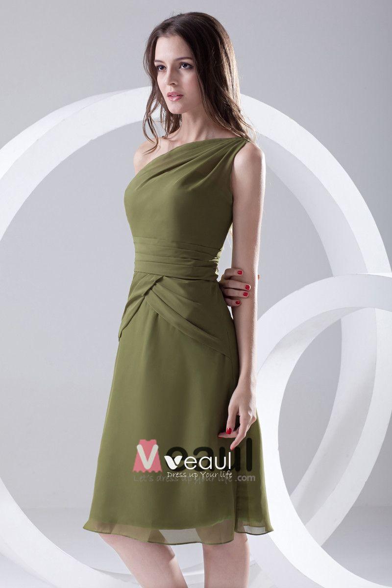 Fashion Chiffon Pleated Sloping Sleeveless Knee Length Bridesmaid Dress
