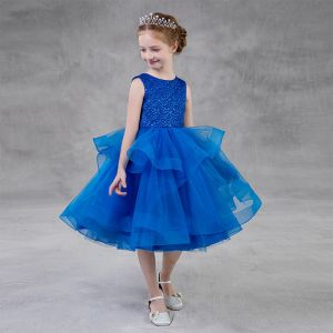 Chic / Beautiful Royal Blue Birthday Flower Girl Dresses 2020 Ball Gown Scoop Neck Sleeveless Glitter Polyester Tea-length Cascading Ruffles