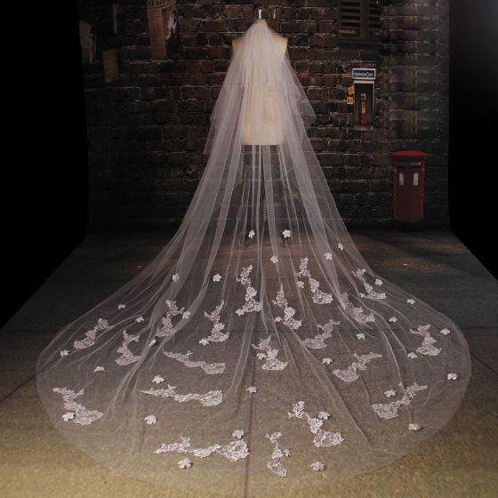 Long White Lace Veil Material