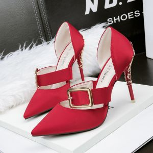 Modest / Simple Red Casual Womens Shoes 2019 Buckle 10 cm Stiletto Heels Pointed Toe High Heels