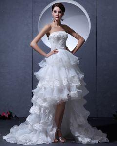 Fil Asymetrique Volants Bretelles Mariée Courtes Robes De Mariage De Robe