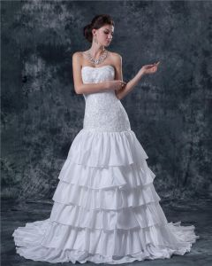 Taft Sweep Bodenlange Trägerlosen A-linie Hochzeitskleid