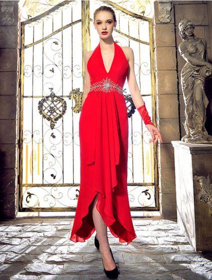 Mode Grimma V-ringad Beading Rhinestonekristallen Backless Röd Chiffong Aftonklänning