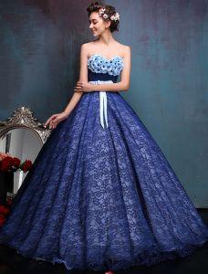Vestido De Gala Glamorosa 2016 Strapless Sin Espalda De Encaje De Tul Cariño Pétalo Real Vestido De Fiesta Azul Con El Marco