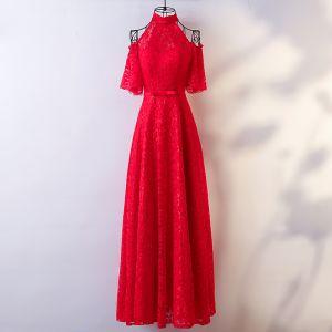 Schöne Rot Abendkleider 2017 A Linie Mit Spitze Schleife Stehkragen Bandeau Rückenfreies Kurze Ärmel Knöchellänge Abend