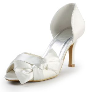 Sweet Handmade Custom Wedding Shoes Beige Satin Bow Party Shoes
