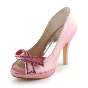 Schattige Roze Bruidsschoenen Satijnen Stiletto Peep Toe Pumps Met Strik
