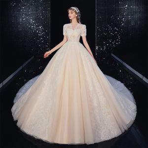 High-end Ivory Lace Flower Wedding Dresses 2020 Ball Gown Scoop Neck Beading Pearl Short Sleeve Covered Button Cathedral Train