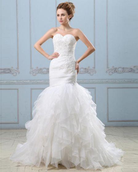 Ruffle Applique Beading Satin Organza Zipper Mermaid Wedding Dress