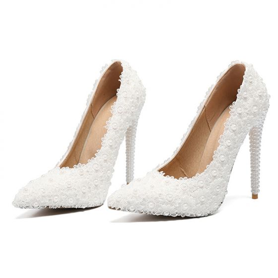 Elegant Ivory Lace Flower Prom Pumps 2020 Pearl 11 cm Stiletto Heels Pointed Toe Pumps