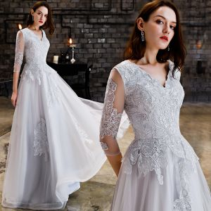 Affordable Grey Evening Dresses  2019 A-Line / Princess V-Neck 3/4 Sleeve Appliques Lace Sequins Floor-Length / Long Ruffle Backless Formal Dresses