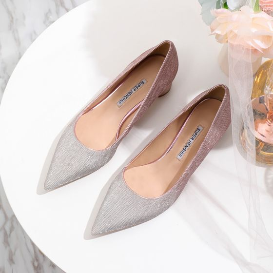 Sparkly Gradient-Color Candy Pink Wedding Shoes 2020 Glitter Sequins 4 cm Low Heel Thick Heels Pointed Toe Wedding Pumps