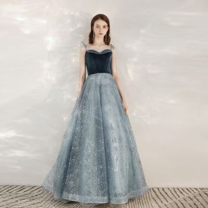 Fashion Ink Blue Evening Dresses  2020 A-Line / Princess Spaghetti Straps Sleeveless Sequins Beading Floor-Length / Long Ruffle Backless Formal Dresses