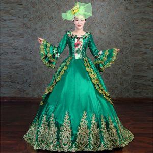 Vintage Medieval Verde Oscuro Ball Gown Vestidos de gala 2021 Manga Larga Escote Cuadrado Encaje 3D Bordado Hecho a mano Largos Cosplay Gala Vestidos Formales