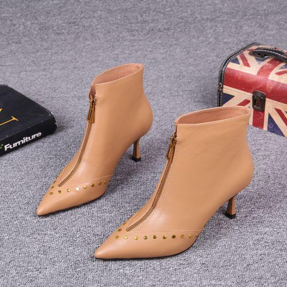 Mote Tan Gateklær Lær Kvinners støvler 2021 Klinke 7 cm Stiletthæler Spisse Ankel Boots