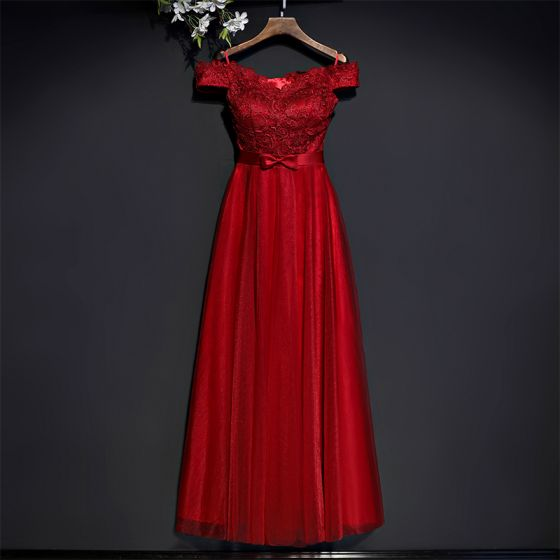 Chic / Beautiful Red Formal Dresses Evening Dresses  2017 Lace Flower Bow Short Sleeve Ankle Length Empire