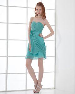 Fashion Chiffon Pleated Applique Sweetheart Thigh Length Bridesmaid Dress