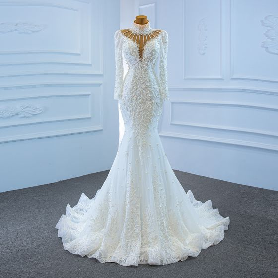 Luxury / Gorgeous White See-through Bridal Wedding Dresses 2020 Trumpet / Mermaid High Neck Long Sleeve Backless Handmade  Beading Pearl Sweep Train Ruffle