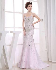 Schatz-sleeveless Reißverschluss Perlen Bodenlangen Organza Frau Abendkleid