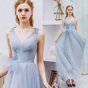 Elegant Grey Prom Dresses 2019 A-Line / Princess V-Neck Lace Flower Bow Sleeveless Backless Floor-Length / Long Formal Dresses