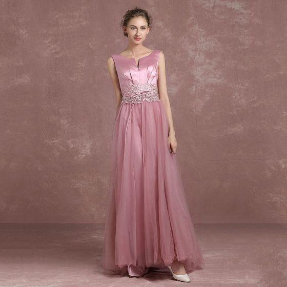 Mode Pink Abendkleider 2018 A Linie Unique V-Ausschnitt Ärmellos Applikationen Mit Spitze Strass Stoffgürtel Lange Rückenfreies Festliche Kleider
