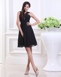 Empire V-Neck Knee Length Taffeta Organza Little Black Party Dress