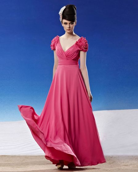 V Neck Flower Wrap Shoulder Ruffle Sleeveless Backless Floor Length Chiffon Woman Evening Dresses