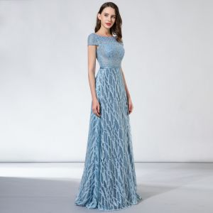 Chic / Beautiful Sky Blue Evening Dresses  2017 A-Line / Princess Lace Beading Sequins Backless Square Neckline Short Sleeve Floor-Length / Long Formal Dresses