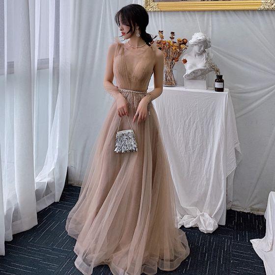 Eleganta Champagne Aftonklänningar 2019 Prinsessa Urringning Ärmlös Fjäder Rhinestone Skärp Långa Ruffle Halterneck Formella Klänningar