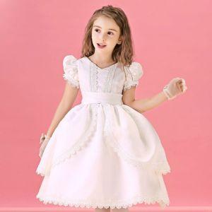 Herbst Und Winter Weiße Blume Spitzen Prinzessin Kleid Kommunionkleider