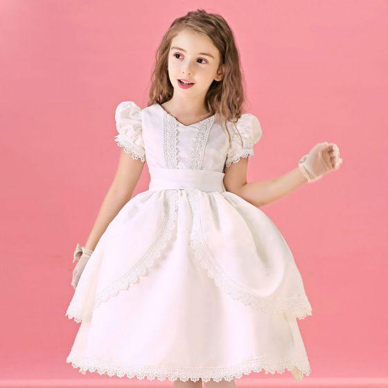 Spitzen Herbst Prinzessin Kommunionkleider Winter Und Kleid Blume Weiße j5Lq3AR4