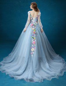 713895133222 Blomst Fairy Kjole 2016 Lange Ærmer Backless Håndlavede Farverige Blomster  Lang Gallakjoler