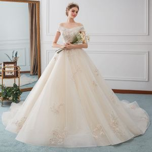 Charming Ivory Wedding Dresses 2019 A-Line / Princess Off-The-Shoulder Beading Pearl Appliques Lace Flower Short Sleeve Backless Chapel Train